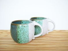 Pottery Mugs in Sea Mist and White Glazes Set by dorothydomingo