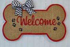 Dog Bone Welcome Burlap Door Hanger  Dog by HartToHome on Etsy
