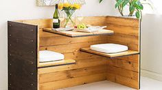 Build your own retro dining nook for a cosy corner. Maybe even more romantic than a box of chocolates. | #DIY Tiny Homes