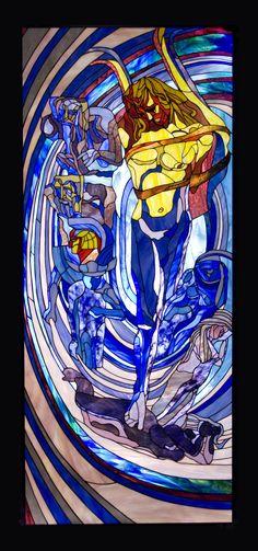 """Tied Up Apollo stained glass, inspired by Wyspiański artwork, handcrafted by Wieniawa-Piasecki Workshop www.e-witraze.pl size: 180x85 cm (71x34"""")"""