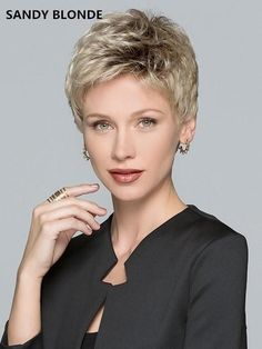 Tab is a short, precision cut wig with bold short layers. The possibilities are endless: you can wear it slicked, swooped, or spiked with a bit of product. Tab is part of the Ellen Wille Perucci Collection-the NEXT GENERATION WIGS! Short Pixie Haircuts, Short Hair Cuts, Straight Hairstyles, Short Hair Styles, Light Ash Blonde, Sandy Blonde, Dark Blonde, Synthetic Lace Front Wigs, Synthetic Wigs