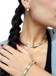 c7a000afe <b>Tiffany & Co.</b><br> 1995 18 K Gold Sterling Atlas Grooved Necklace