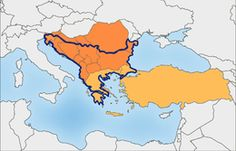 The Balkan region according to Prof R. J. Crampton. According to the Encyclopædia Britannica, the Balkans are usually said to comprise Albania, Bosnia and Herzegovina, Bulgaria, Croatia, Kosovo,[a] the Republic of Macedonia, Montenegro, Romania, Serbia, Slovenia, while Greece and Turkey are often included (depending on the definition), and its total area is usually given as 666,700 square km