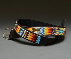 Beaded Leather Belt by Rickie Clinton (Navajo)