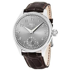 Ball Men's NM3038D-LJ-GY 'Trainmaster Officer' Dial Brown Strap Swiss Automatic Watch