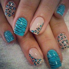 Teal cheetah nails