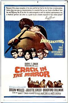 Orson Welles, Juliette Gréco, Bradford Dillman. Director: Richard Fleischer. IMDB: 7.0 ______________________ http://en.wikipedia.org/wiki/Crack_in_the_Mirror ______________________ http://www.rottentomatoes.com/m/crack-in-the-mirror/ ______________________ http://www.tcm.com/tcmdb/title/71689/Crack-in-the-Mirror/ ______________________ http://www.allmovie.com/movie/crack-in-the-mirror-v88046 ______________________