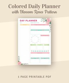 Colored Daily Planner with Blossom Roses Pattern Day Agenda Day Planner Template, Daily Schedule Template, Planner Inserts, Planner Ideas, Weekly Hourly Planner, Daily Planner Printable, Day Designer Planner, Daily Organization, Seating Chart Template