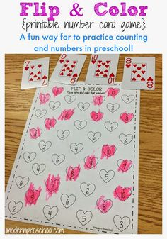 Heart Flip & Color Number Activity Free printable number matching card heart activity for preschool and kindergarten!<br> Practice number matching and recognition with this free printable playing card activity for preschoolers. Simply print and play! Numbers Preschool, Preschool Learning, Preschool Activities, Learning Numbers, Number Games For Kindergarten, Preschool Projects, Work Activities, Valentines Day Activities, Holiday Activities
