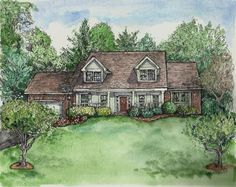 Original HOUSE PORTRAITS by artist Patty Fleckenstein (thats me♥)  A custom House Portrait is a great way to help preserve cherished memories of