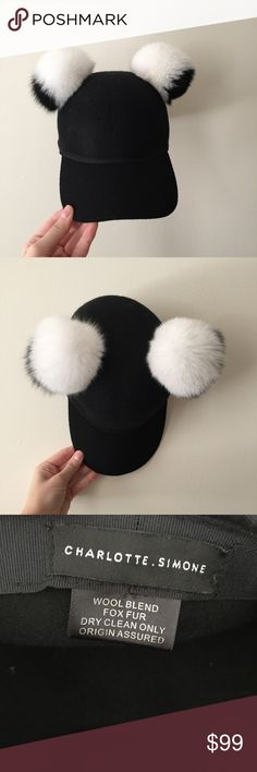 Charlotte Simone Sass Cap Charlotte Simone Sass Cap in black with black and white fur balls. Real fur - 100% fox fur and wool hat. In perfect condition and only worn once. Super cute and comfy! charlotte Simone Accessories Hats