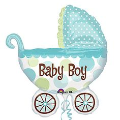 Baby Buggy Boy Mylar Balloons feature trendy blue and green polka dot design on this new modern twist of a pram. Our Baby Buggy Boy Balloon measures 27 inches x 30 inches.