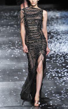 Shop Nina Ricci Dot Print Long Silk Chiffon Dress