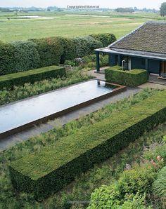 ventilatorroom: Bonn garden pool by Piet Oudolf Contemporary Water Feature, Contemporary Landscape, Landscape Design, Formal Garden Design, Garden Architecture, Parcs, Garden Spaces, Water Features, Garden Inspiration