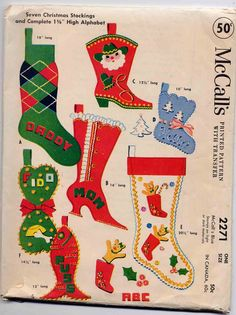 Vintage 1958 Mccall's Felt Christmas Stocking Pattern--uncut--super Cute With…