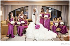 bridal_party_formal_modern_pink_bridemaids_dresses_white_bouquets