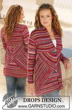 """Ravelry: 111-1 Knitted jacket with domino squares in """"Fabel"""" pattern by DROPS design"""