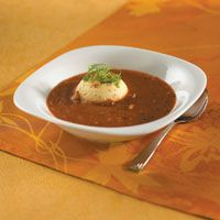 Roasted tomato soup and garlic custard. Recipe by Brian Scheehser; photo by Chris Cassidy.