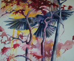"Water Color & Oil on Canvas ""Ravens Love"""