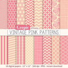 "Pink digital paper: ""VINTAGE PINK PATTERNS"" pink backgrounds w/ chevron, polkadots, honeycomb, stripes, geometric, quatrefoil, cross hatch.."