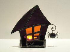 Halloween Stained Glass Candle Holder Decoration Votive Purple Orange Handmade OOAK
