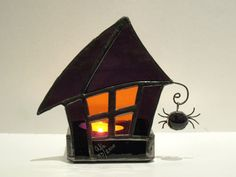 Halloween Stained Glass Candle Holder Wikka by FleetingStillness, $49.99