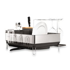 simplehuman® Steel Frame Dish Rack with Wine Glass Holder Cocina Comedor 7260f6accd4d