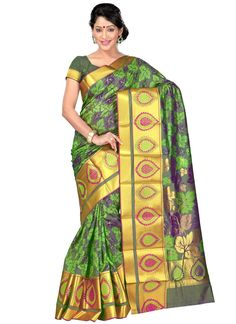 Designer saree and trendy saree available in a variety of latest designs. Shop this attractive weaving work green designer traditional saree.