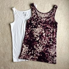 Set of two size L tank tops! Set of two tank tops! Both are a fitted size L with plenty of stretch. * * * Stylus - ribbed white tank. Worn just once. Original price $8 from JCP. * * * Mossimo - purple & white patterned tank. Gently worn on several occasions but still in EUC without any flaws I can find. Original price $12.50 from Target. Stylus/Mossimo Tops Tank Tops