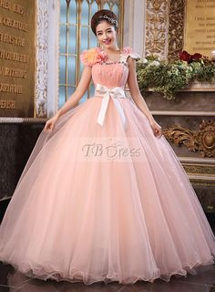 2017 New Beaded Flower Sweet 15 Ball Gown Peach Satin Tulle Prom Dress Gown  Vestidos De 15 Anos with Quinceanera Dresses 9e4a4e333ea1