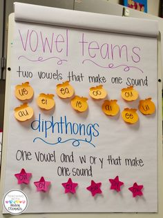 Vowel teams are a great way to get students thinking about working with vowels. This can be done with the whole class. teams, Teaching Vowel Teams and Diphthongs Kindergarten Anchor Charts, Reading Anchor Charts, Kindergarten Reading, Teaching Reading, Guided Reading, Kindergarten Phonics, Close Reading, Reading Skills, Preschool Literacy