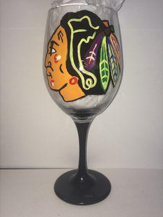 Hand Painted Chicago Blackhawks Wine Glass
