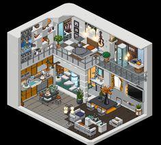 Home Building Design, Home Design Plans, House Design, Habbo Pixel, Pixel Life, Isometric Art, Isometric Design, House Sketch, House Drawing