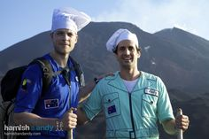 Hamish & Andy - going to cook a lasagne on the lava of a volcano. Legit. They did this. Lavasagna.