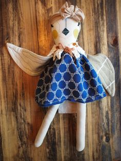 undyed natural cotton + vintage and new cotton, knit and trim + touches of gold thread detail = a little dream come true  This birdie comes dressed in a removable dress and fringe shawl. Accessorized with a removable knit headband. Approx. 20 inches from head to toe.