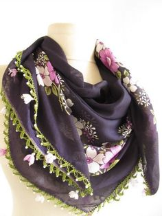 Ribbon Roses aubergine scarf  SQUARE scarf Turkish by asuhan, $30.00