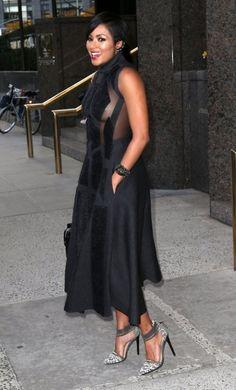 Splurge: Alicia Quarles's New York City Donna Karan Black Sleeveless Artisan Applique Sheer Dress and L.A.M.B Fernley Gray Heels