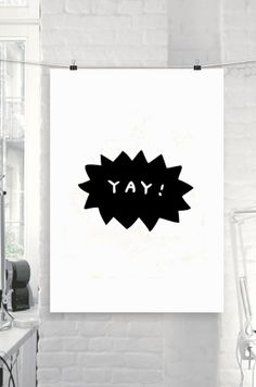 Printable Art Happy Inspirational Yay Black by TheMotivatedType, $9.00