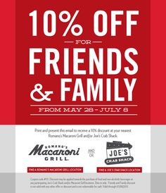 Pinned June 1st: Quick 10% off at Joes Crab Shack & Romanos Macaroni Grill coupon via The Coupons App