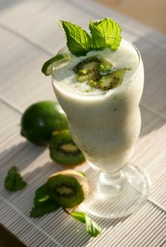Banana Kiwi Cooler: 8 oz. Almond milk, 2 scoops Vi-Shape shake mix, 1/2 small frozen banana, 1 banana flavor packet, ½ cup fresh kiwi slices (peeled), & 6 ice cubes. Blend well in blender.  http://glenclewis.bodybyvi.com/