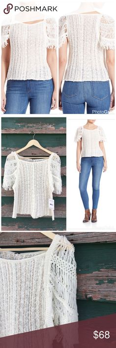 Free People crochet sleeve top The perfect hipster shirt! Very boho, stunning see through crochet detail with unique cap style sleeve. Crochet detail on torso as well. Cotton/acrylic/nylon blend. Length is 21in. and bust is 16 1/4in. Free People Tops