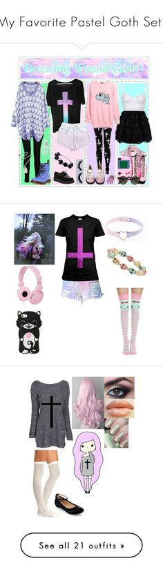 """""""My Favorite Pastel Goth Sets"""" by cat8mouse ❤ liked on Polyvore featuring RED Valentino, Carven, J Brand, T.U.K., Levi's, Dr. Martens, Kreepsville 666, Pamela Love, Cotton Candy and Kill Star"""