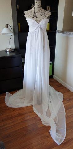 White chiffon maternity Gown,long maternity gown,long train, Sheer maternity gown , chiffon maternity dress, sweetheart neck lane by designbycboutique on Etsy