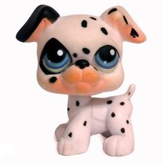 LPS#0044 (BIS) DALMATIAN Variant. Dog days. White fur with black spots, one black eye and ear, blue iris. Paws are bigger than v1.