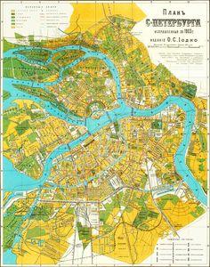 1893 Map of SaintPetersburg Russia St Petersburg Maps before