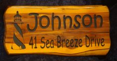 Johnson Address Sign, 2 foot Cedar Sign | Cedar Signs by CedarSlabSigns.com Lake House Signs, Cabin Signs, Cottage Signs, Home Signs, Camper Signs, Shopping Cart Software, Personalized Signs, Personalised Signs