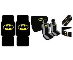 15 Piece Auto Interior Gift Set - Batman Classic Logo - 2 Front Seat Covers (2 Front and 2 Bottom), 2 Headrest Covers, 2 Seat Belt Shoulder Pads, 1 Steering Wheel Cover, 1 Bench Seat Cover (1 Top and 1 Bottom), 4 Floor Mats (2 Front and 2 Rear) by Unique Imports, http://www.amazon.com/dp/B003ZTR4Z2/ref=cm_sw_r_pi_dp_Yyz3rb1VSAN01