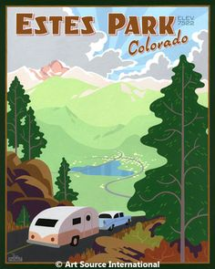 Estes Park, Colorado by Steve Lowtwait  Estes Park is the gateway town to Rocky Mountain National Park. The town is a very popular summer tourist destination so Steve wanted to say 'Great American Vacation' in this piece. Steve likes to include specific features when he can such as Lake Estes and Long's Peak here. This image immediately became a big seller. It is a companion piece to the Rocky Mountain National Park print.