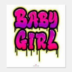 Baby Girl Dripping Word Art Spray Paint Pink Green Sticker Graffiti Words, Graffiti Lettering, Graffiti Art, Graffiti Nails, Graffiti Piece, Graffiti Writing, Graffiti Alphabet, Typography, Airbrush T Shirts