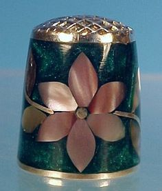 Vintage Pink Mother of Pearl, Abalone Shell & Mexican Green Stone Collectible Sewing Thimble MEXICO